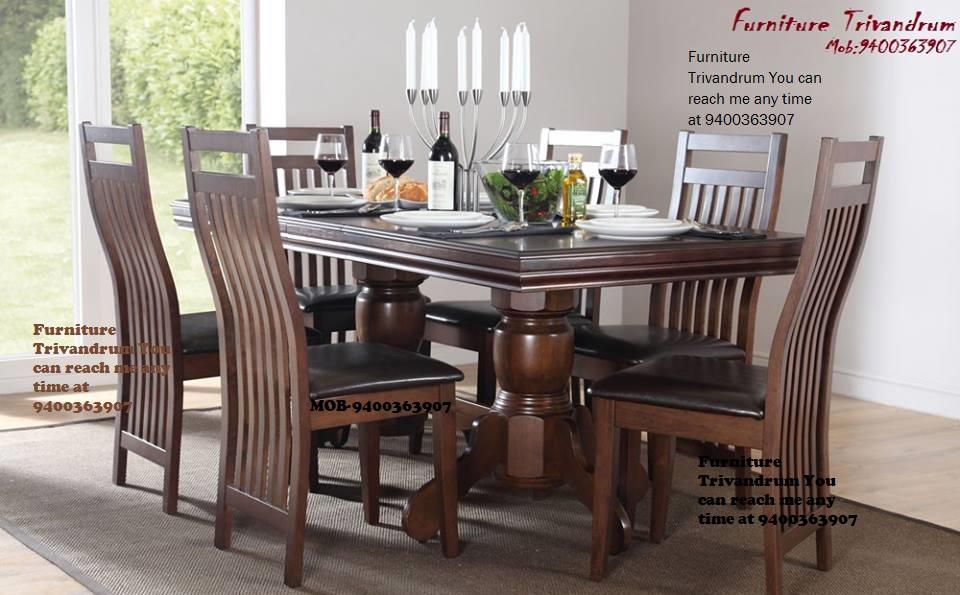 Teak wood glass top dining set