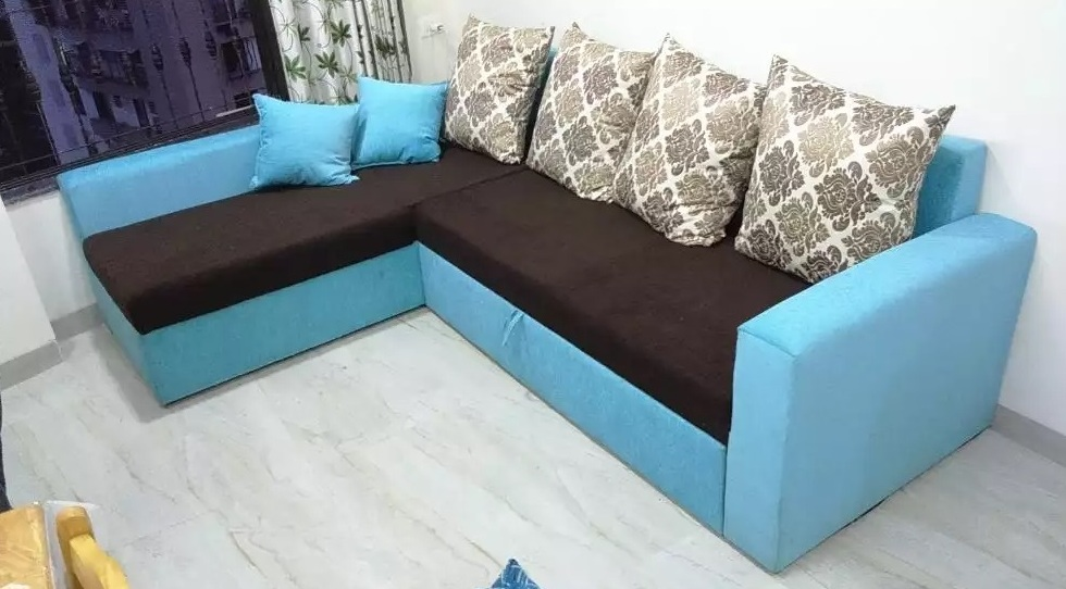 Floral design L shape sofa cum bed