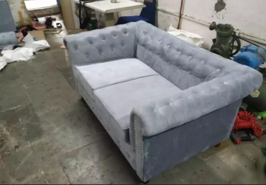 Brand new grey velvet fabric Chesterfield